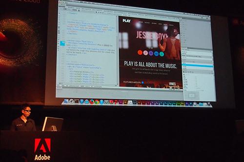 Edge Animate CCで作成した動画埋め込みページをDreamweaver CCで編集しているところ